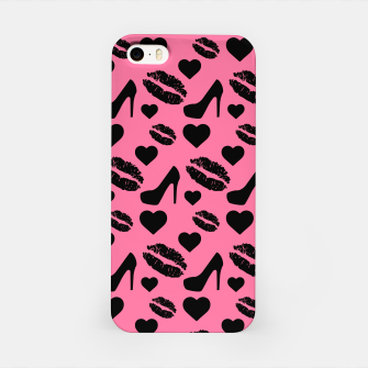 Thumbnail image of Black High Heels Kisses Lips Girly Makeup Hearts Love iPhone Case, Live Heroes