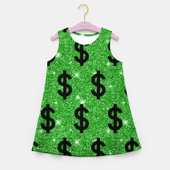 Black Dollar Sign Money Lover Entrepreneur Wall Street Girl's summer dress miniature