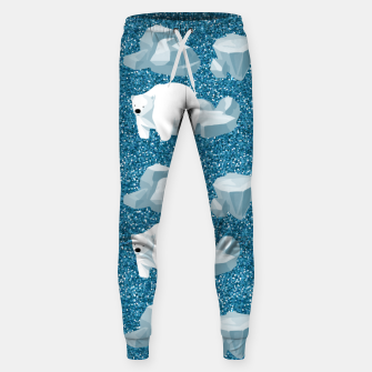 Thumbnail image of Cute White Polar Bear North Wild Animal Blue Cold Winter Sweatpants, Live Heroes