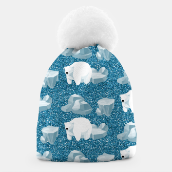 Thumbnail image of Cute White Polar Bear North Wild Animal Blue Cold Winter Beanie, Live Heroes