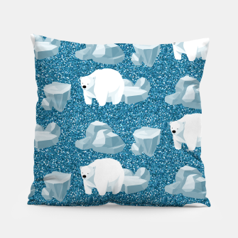 Thumbnail image of Cute White Polar Bear North Wild Animal Blue Cold Winter Pillow, Live Heroes