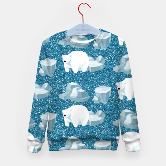 Thumbnail image of Cute White Polar Bear North Wild Animal Blue Cold Winter Kid's sweater, Live Heroes