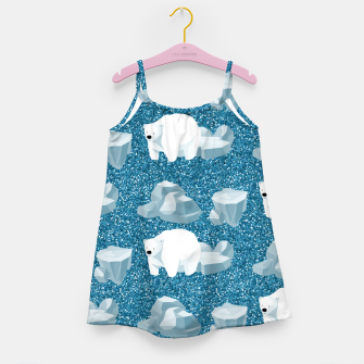 Thumbnail image of Cute White Polar Bear North Wild Animal Blue Cold Winter Girl's dress, Live Heroes