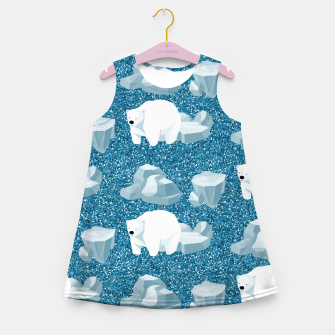Thumbnail image of Cute White Polar Bear North Wild Animal Blue Cold Winter Girl's summer dress, Live Heroes