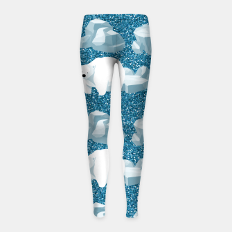 Thumbnail image of Cute White Polar Bear North Wild Animal Blue Cold Winter Girl's leggings, Live Heroes