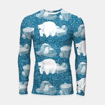 Thumbnail image of Cute White Polar Bear North Wild Animal Blue Cold Winter Longsleeve rashguard , Live Heroes
