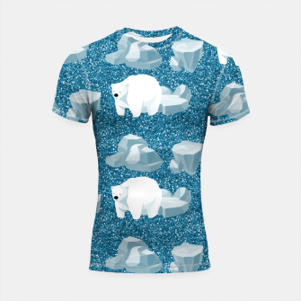 Thumbnail image of Cute White Polar Bear North Wild Animal Blue Cold Winter Shortsleeve rashguard, Live Heroes
