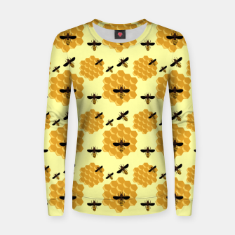 Thumbnail image of Honeycomb Honey Bees Insect Lover Yellow Beekeeper Women sweater, Live Heroes