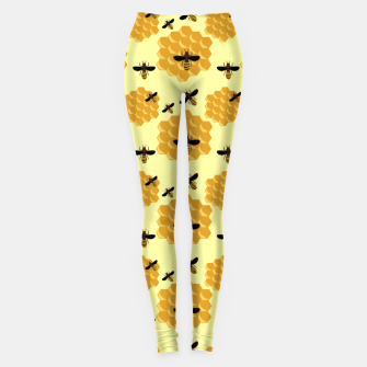 Thumbnail image of Honeycomb Honey Bees Insect Lover Yellow Beekeeper Leggings, Live Heroes