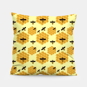 Thumbnail image of Honeycomb Honey Bees Insect Lover Yellow Beekeeper Pillow, Live Heroes