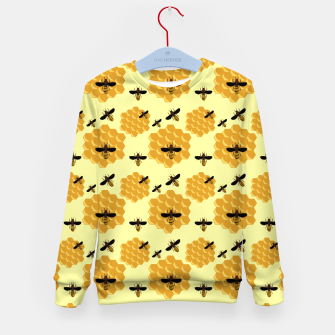 Thumbnail image of Honeycomb Honey Bees Insect Lover Yellow Beekeeper Kid's sweater, Live Heroes