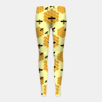 Thumbnail image of Honeycomb Honey Bees Insect Lover Yellow Beekeeper Girl's leggings, Live Heroes