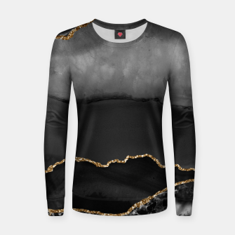Miniaturka Faux Grey Marbled Agate Golden Glitter Black Stone Luxury Women sweater, Live Heroes