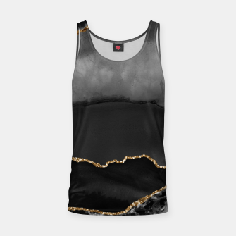 Miniaturka Faux Grey Marbled Agate Golden Glitter Black Stone Luxury Tank Top, Live Heroes