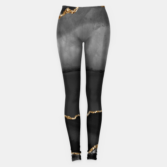 Miniaturka Faux Grey Marbled Agate Golden Glitter Black Stone Luxury Leggings, Live Heroes