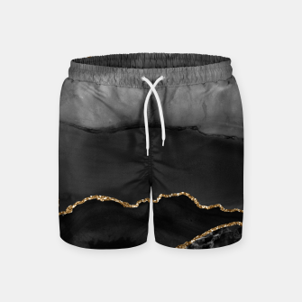 Miniaturka Faux Grey Marbled Agate Golden Glitter Black Stone Luxury Swim Shorts, Live Heroes