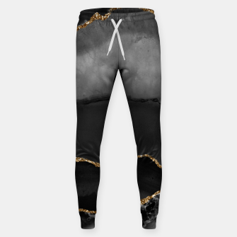 Miniaturka Faux Grey Marbled Agate Golden Glitter Black Stone Luxury Sweatpants, Live Heroes