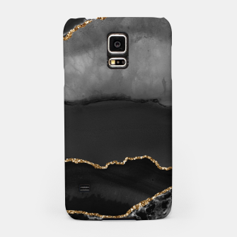 Miniaturka Faux Grey Marbled Agate Golden Glitter Black Stone Luxury Samsung Case, Live Heroes