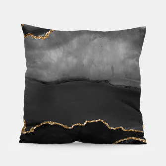 Miniaturka Faux Grey Marbled Agate Golden Glitter Black Stone Luxury Pillow, Live Heroes