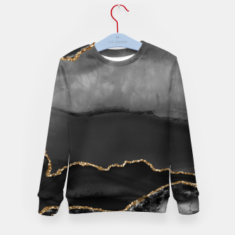 Miniaturka Faux Grey Marbled Agate Golden Glitter Black Stone Luxury Kid's sweater, Live Heroes