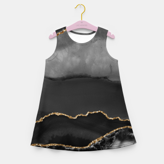 Miniaturka Faux Grey Marbled Agate Golden Glitter Black Stone Luxury Girl's summer dress, Live Heroes