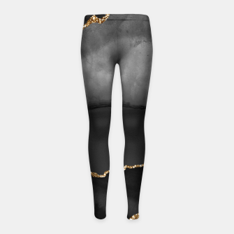 Miniaturka Faux Grey Marbled Agate Golden Glitter Black Stone Luxury Girl's leggings, Live Heroes