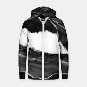 Thumbnail image of Faux Marbled Agate Black White Trendy Modern Stone Zip up hoodie, Live Heroes