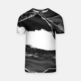 Thumbnail image of Faux Marbled Agate Black White Trendy Modern Stone T-shirt, Live Heroes