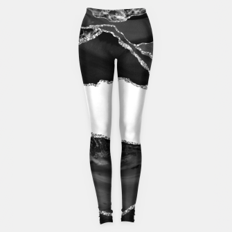 Thumbnail image of Faux Marbled Agate Black White Trendy Modern Stone Leggings, Live Heroes