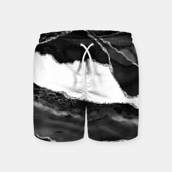 Thumbnail image of Faux Marbled Agate Black White Trendy Modern Stone Swim Shorts, Live Heroes