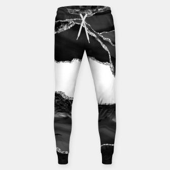 Thumbnail image of Faux Marbled Agate Black White Trendy Modern Stone Sweatpants, Live Heroes