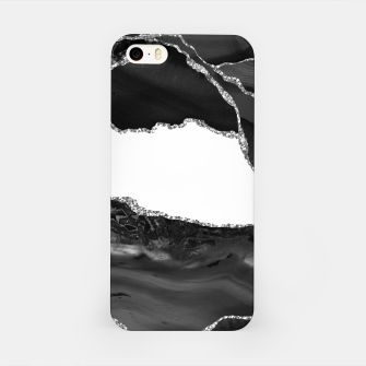 Thumbnail image of Faux Marbled Agate Black White Trendy Modern Stone iPhone Case, Live Heroes
