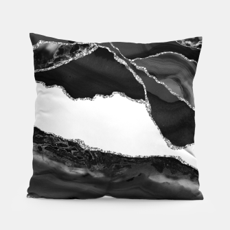 Thumbnail image of Faux Marbled Agate Black White Trendy Modern Stone Pillow, Live Heroes