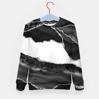 Thumbnail image of Faux Marbled Agate Black White Trendy Modern Stone Kid's sweater, Live Heroes