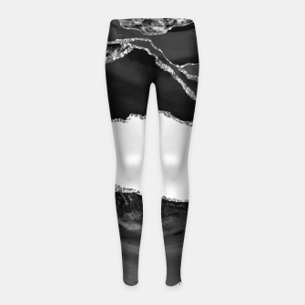 Thumbnail image of Faux Marbled Agate Black White Trendy Modern Stone Girl's leggings, Live Heroes