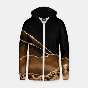 Thumbnail image of Faux Desert Brown Marbled Agate Contemporary Stone Zip up hoodie, Live Heroes