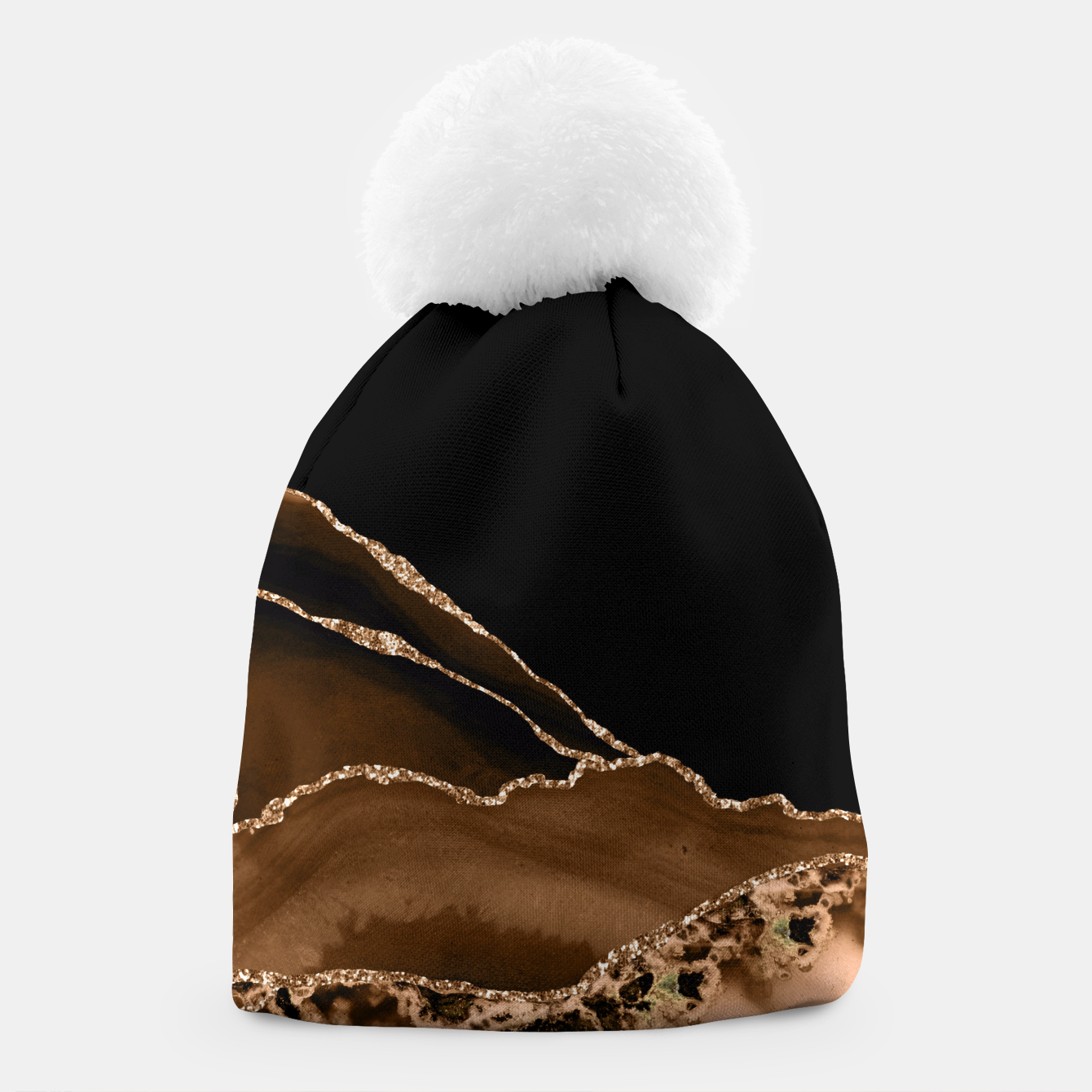 Image of Faux Desert Brown Marbled Agate Contemporary Stone Beanie - Live Heroes