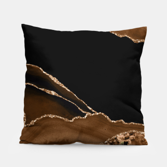 Thumbnail image of Faux Desert Brown Marbled Agate Contemporary Stone Pillow, Live Heroes