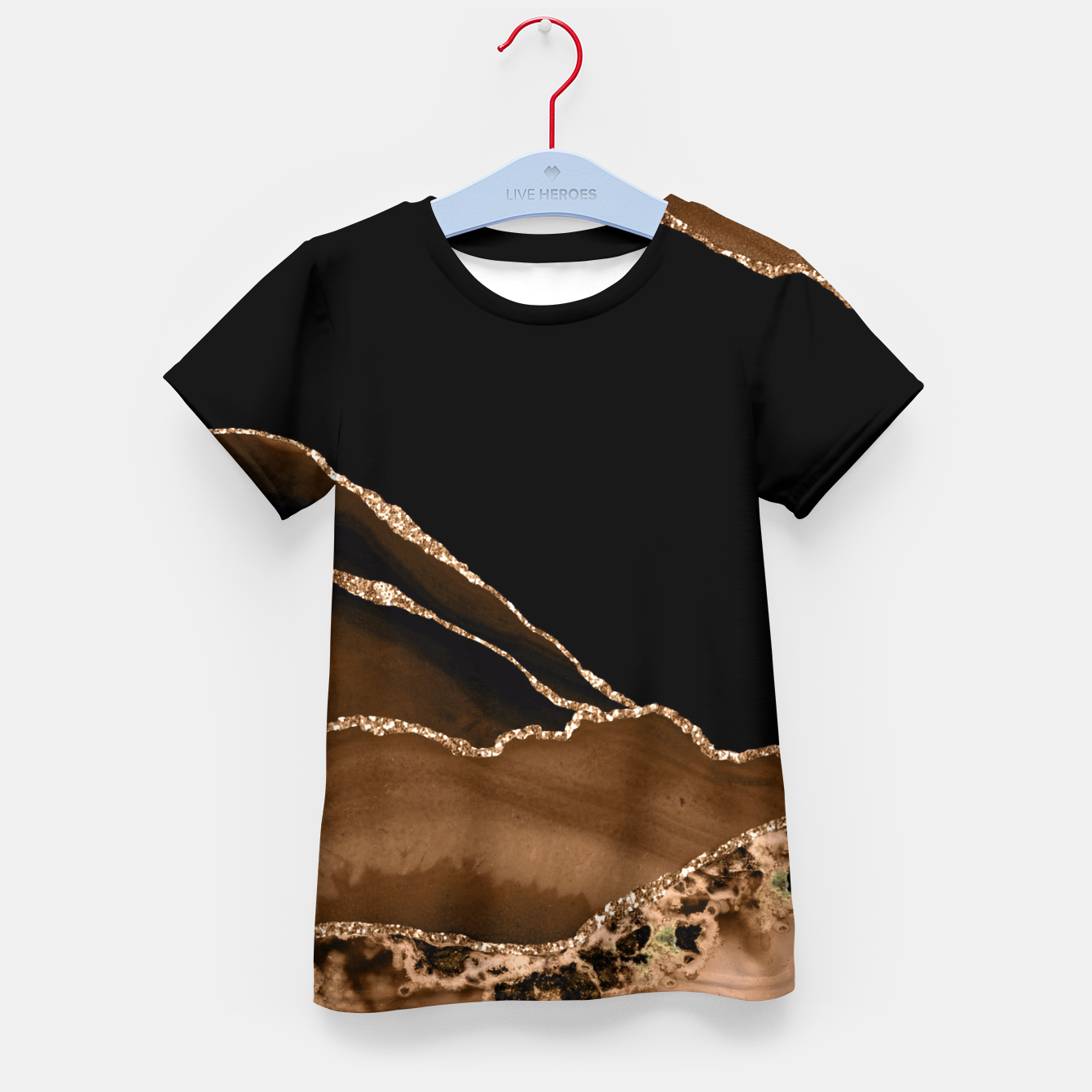 Image of Faux Desert Brown Marbled Agate Contemporary Stone Kid's t-shirt - Live Heroes
