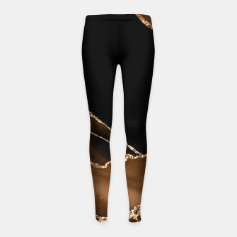 Thumbnail image of Faux Desert Brown Marbled Agate Contemporary Stone Girl's leggings, Live Heroes