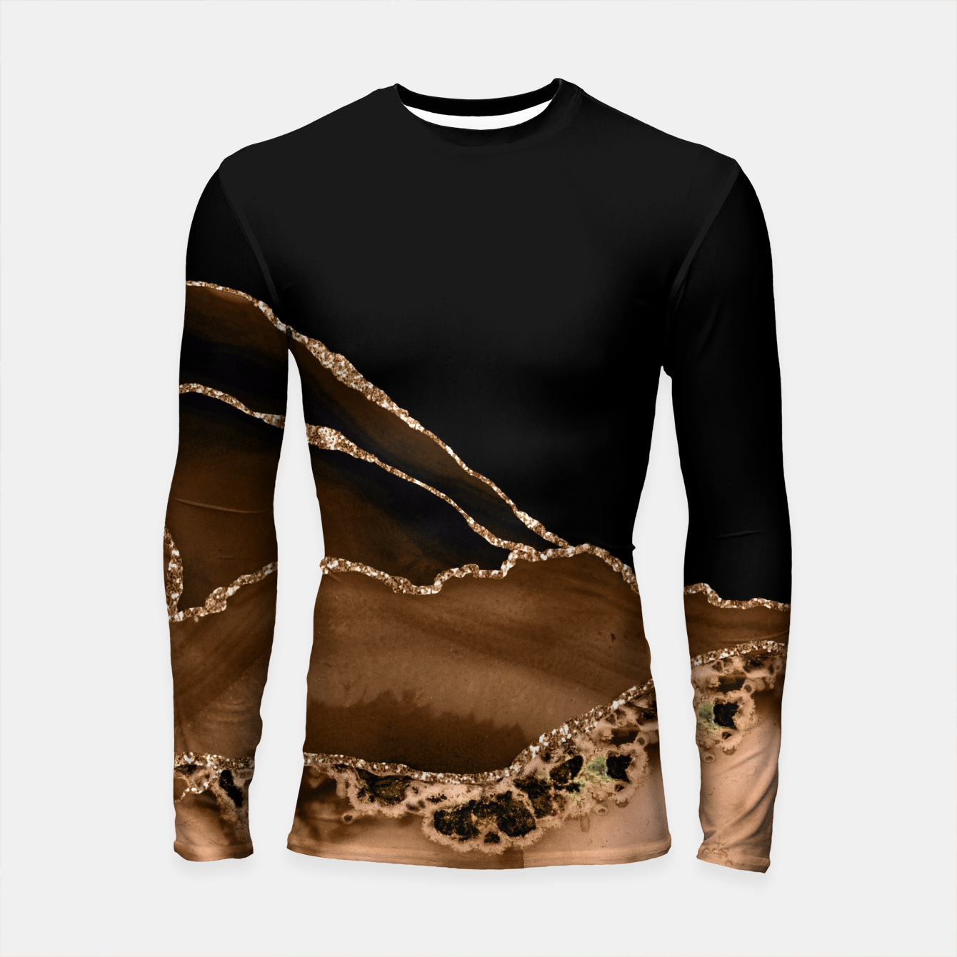 Image of Faux Desert Brown Marbled Agate Contemporary Stone Longsleeve rashguard  - Live Heroes