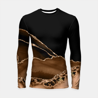 Thumbnail image of Faux Desert Brown Marbled Agate Contemporary Stone Longsleeve rashguard , Live Heroes