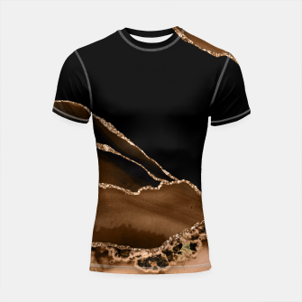 Thumbnail image of Faux Desert Brown Marbled Agate Contemporary Stone Shortsleeve rashguard, Live Heroes