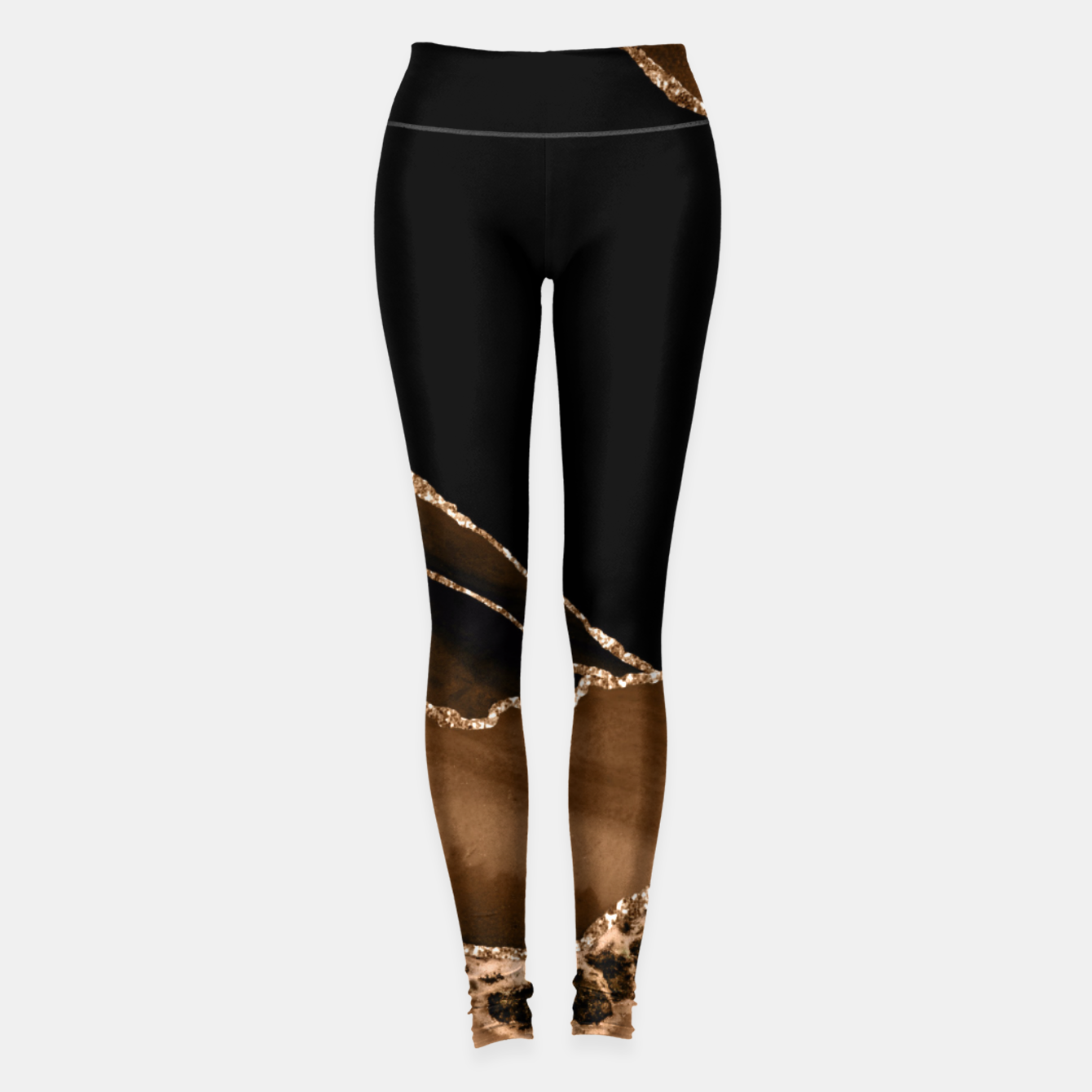 Image of Faux Desert Brown Marbled Agate Contemporary Stone Leggings - Live Heroes