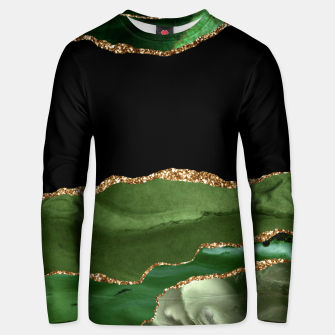 Faux Emerald Green Marbled Agate Contemporary Stone Unisex sweater thumbnail image