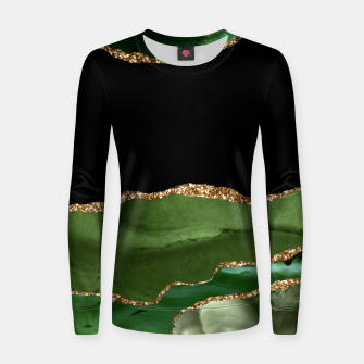 Faux Emerald Green Marbled Agate Contemporary Stone Women sweater thumbnail image