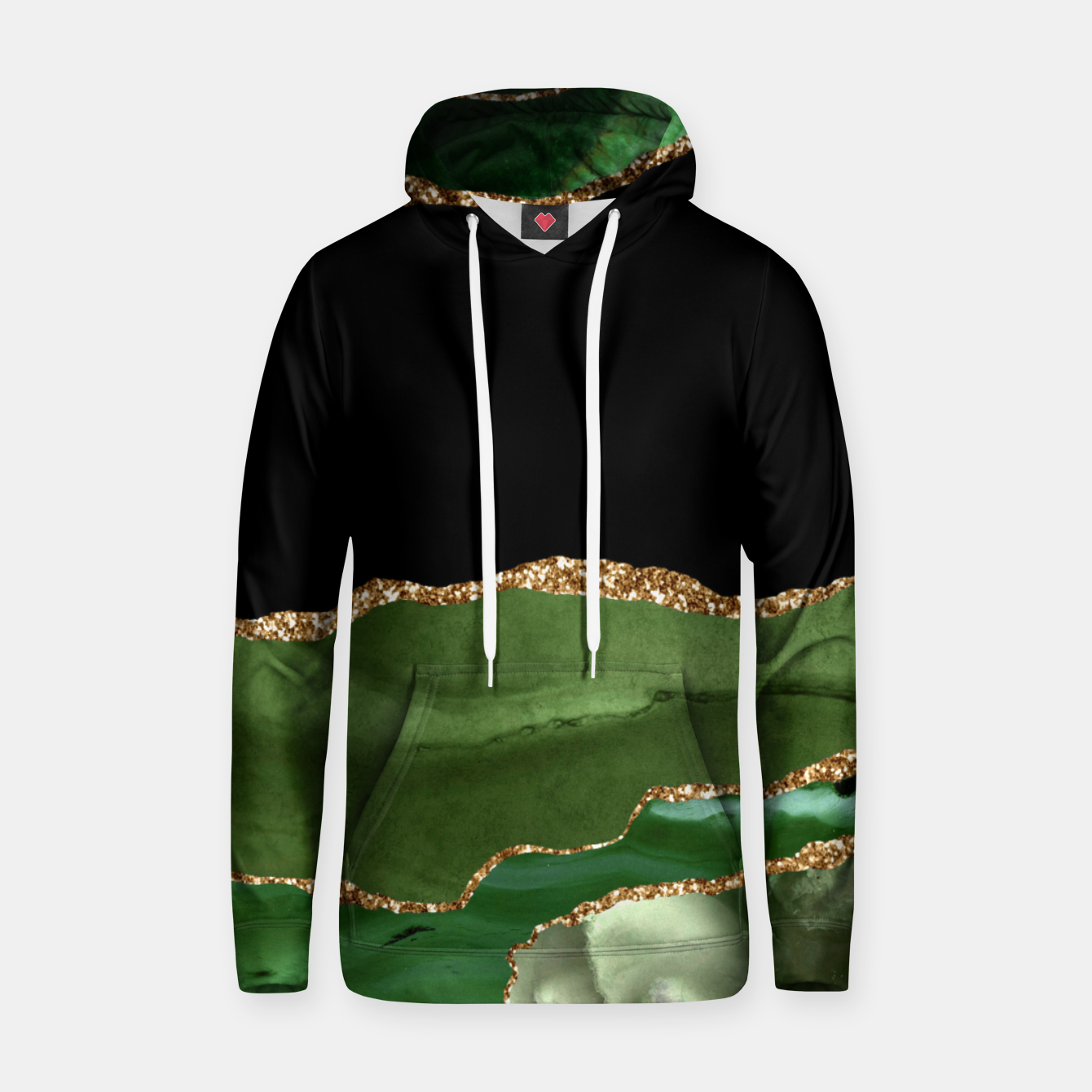 Image of Faux Emerald Green Marbled Agate Contemporary Stone Hoodie - Live Heroes