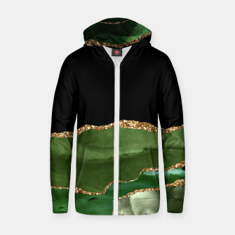 Faux Emerald Green Marbled Agate Contemporary Stone Zip up hoodie thumbnail image