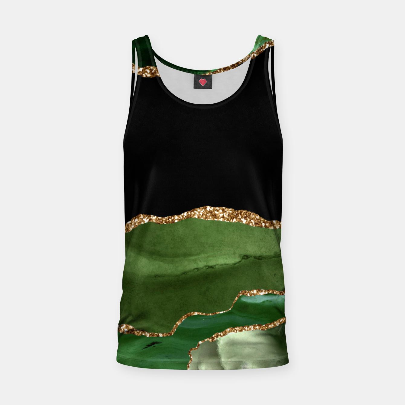 Image of Faux Emerald Green Marbled Agate Contemporary Stone Tank Top - Live Heroes