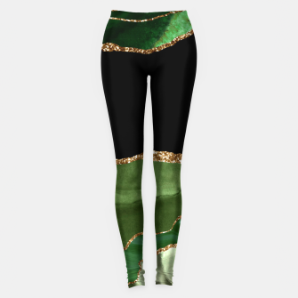 Faux Emerald Green Marbled Agate Contemporary Stone Leggings thumbnail image